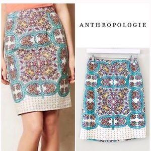 Anthro Maeve Mayola Paisley Print Linen Skirt